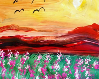 Flowers Blooming - Original Acrylic Painting, art on paper, 12 x 12, No Frame, Painting only