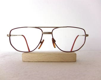 Actuell Flat Aviator Men's Eyeglasses Germany Red Gold Plated Large Sized Great Condition Eye Glasses Oval Lenses Man FREE SHIPPING Rx Him