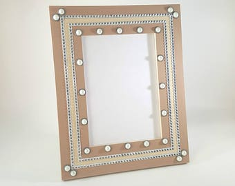 5x7 Picture Frame - Pearl Picture Frame - Rhinestone Picture Frame - Brown Picture Frames - Photo Frame 5x7