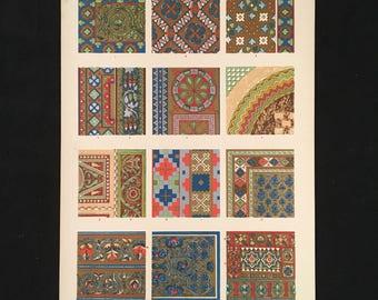 Byzantine (mosiacs) No. 2 - Original Owen Jones Print, Grammar of Ornament, Vibrant Color Lithograph, Vintage Decor