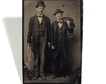 Unusual Tintype of a Two Men with a Hand-Held Sump Pump, Occupational Tintype, 19th Century Antique Photograph