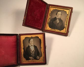 Pair of Daguerreotypes of an Aging Man, Two Antique Photos Each in Full Cases, 19th Century Antique Photographs