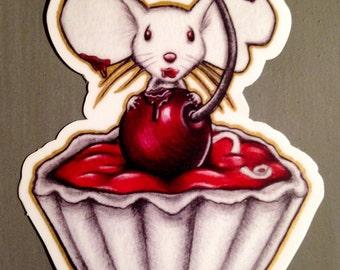"""Trouble"""" weatherproof vinyl sticker mouse in tarte"""