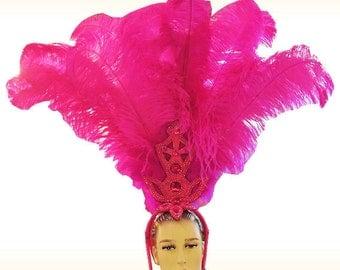 Ostrich Feather Headdress - Pluma - Feather Samba Headdress, Showgirl Headdress, Sambakopfschmuck,coiffe plume