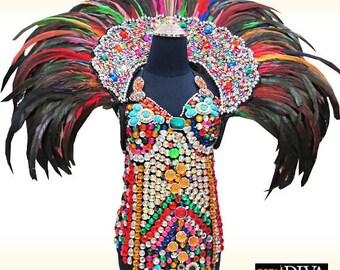 Feather Backpack - Colorido Star - Shoulder Dress, Samba Backpack, Showgirl Backpack, Federkragen, Schulterschmuck, col plume