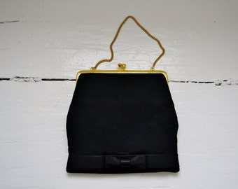 Vintage Black Evening Bag with Bow
