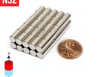 "50pcs 6mm x 10mm - 1/4"" x 3/8"" N52 Super Strong Rare Earth Neodymium Cylinder Crafts Fridge Magnets"