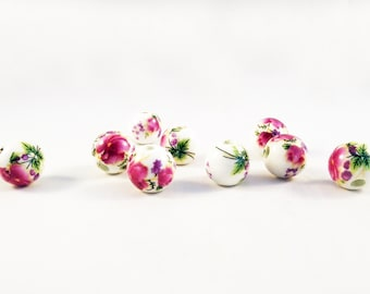 ALG1 - 10 beads porcelain flowers or Bamboo Asian choice painted unique 2 / 10 Pieces 2 Styles Porcelain Painted Flowers gold Asia Beads