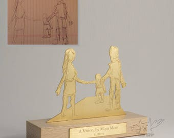 Handmade gold plated silver personalized tabletop sculptures from your kids art, perfect gift for mom & dad, one of a kind keepsake