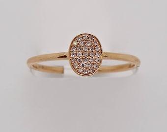 18K Rose Gold Diamond Pave Oval Band