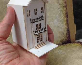 Dollhouse 144 scale micro miniature vintage antique tiny mini doll wood diorama prop row house townhouse multi level tall floors model