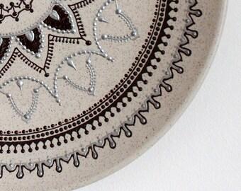 Ceramic decorative plate, handpainted, hanging plate
