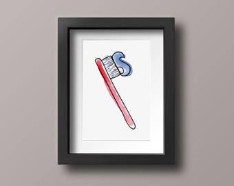 Toothbrush Wall Art Decor, Dentist Illustration, Watercolor Print, 4x6 Print, 5x7 Print, 8x10 Print