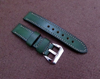Difues Leather handcraft green watch strap Panerai Style. Width 22 mm.