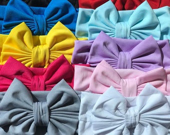 Set of 10 Messy Bow Headbands,  Big Wide Bow Turban Headbands, Baby Toddler Girls Headbands, Girls  Head Wrap, Big Bow Headbands