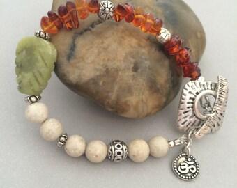 Om Bracelet, Nature Inspired Bracelet, Riverstone, Amber, Silver Toggle Clasp
