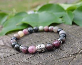 Bracelet in black and Pink Tourmaline for lithotherapy