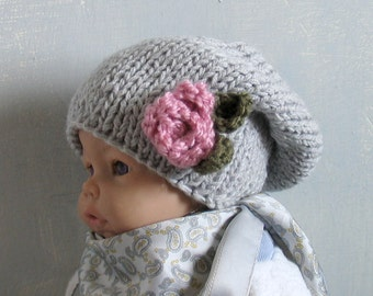 Baby Girl Hat Baby Girl Knit Hat Knit Newborn Hat Baby Winter Hat newborn photo prop newborn boy hat whit Flower