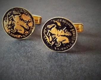 Vintage St. George cuff links for men, (S. Georgius)