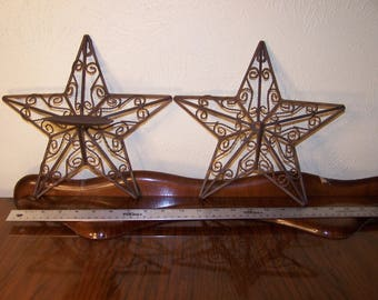 Two Decorative Metal Rusty Stars Rustic Decor Texas Candleholder Sconce