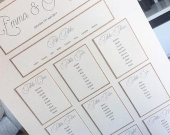 Wedding Table Plan / Wedding Seating Chart / Glitter Seating Chart / Glitter Table Plan / Basic Table Plan / Basic Seating Chart
