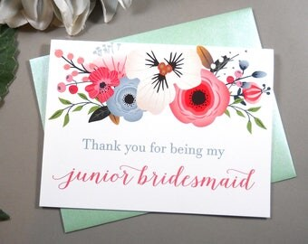 Thank You for being my JUNIOR BRIDESMAID Card, Junior Bridesmaid Card, Wedding Thank You Card, Junior Bridesmaid Gift, Bridesmaid Box