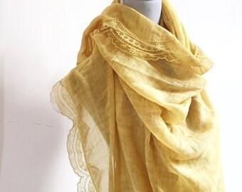 Boho Lace Edged Shawl - bohemian wedding, boho wedding, summer scarf, bridesmaid shawl, bridesmaid gift, lace shawl, lace scarf vintage lace