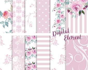 Digital Scrapbook Paper, Lilac and Lavender Watercolor Paper, Lilac Floral Paper, Wedding and Scrapbook Paper. No. P166