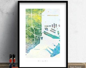 Miami Map - City Street Map of Miami, Florida - Art Print Watercolor Illustration Wall Art Home Decor Gift Embossed PRINT