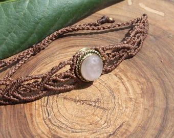Rose quartz bracelet in macrame