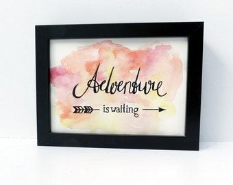Original silkscreen print on watercolour, picture adventure is waiting, mural, art print