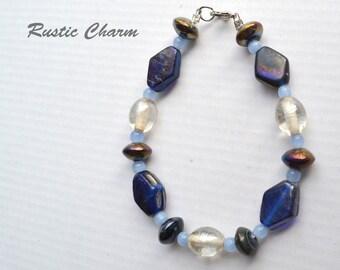 Blue Geometric Beaded Glass Bracelet