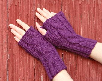 Purple fingerless gloves, texting gloves wrist warmer, knit cabled mitts, berry purple fingerless mitts hand made in usa  /made to order