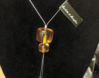 Stainless steel necklace with amber-Steel necklace with amber pendant-Made in Italy