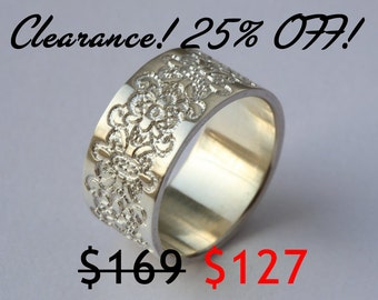 silver wide ring with lace texture anniversary ring wedding - Wide Band Wedding Rings
