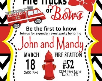 Fire Trucks or Bows? Gender Reveal Invitation