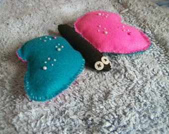 Butterfly plush toy, felt plushie, stuffed animal, bug toy, pretty felt art, felt and beads, decoration, pretty butterfly, soft toy doll