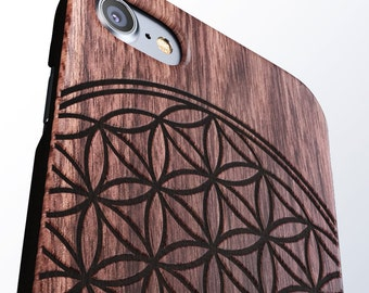 Flower of Life iPhone 8 case, 8 PLUS, X, SE 5s 5 6 /6s 7 Plus Case Samsung Galaxy S6 S7 S8 Edge Real Wood Case Laser Engraved iPhone Wooden