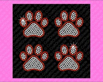 Set of 4, 2 5/8 inch 2 color paw print rhinestone appliqués.