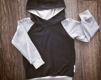Hooded sweater for baby and child, bamboo light grey and black stripes