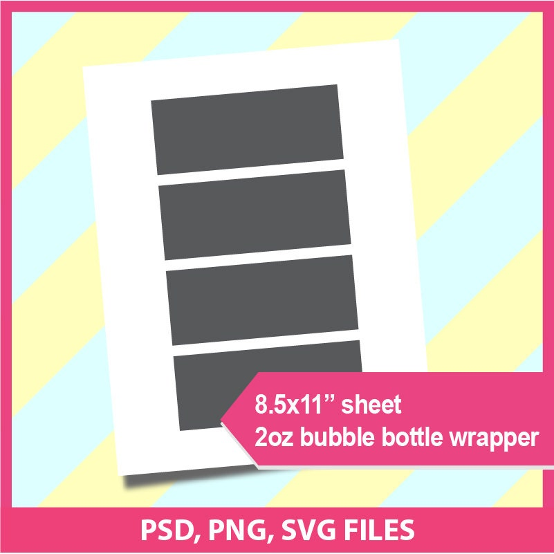 Instant download 2oz bubble bottle label template psd for Bubble bottle label template