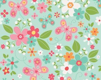 Garden Girl - Per Yd - Riley Blake - by Zoe Pearn - Floral on Mint