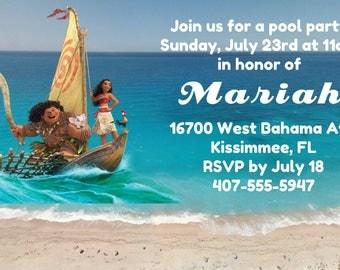 Moana Invitation, Moana birthday invitation, Moana, Moana Party,