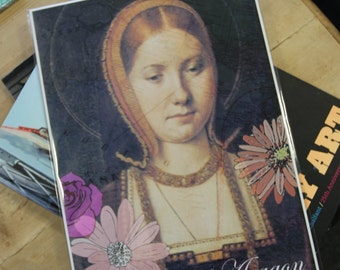Catherine of Aragon print with flowers, Tudor, Henry VIII, England, Royalty, Queen, History,King, Britain Tower of London, Anne Boleyn,