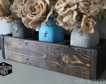 Mason Jar Table Centerpiece | Planter Box | Rustic Wedding | Wooden Box | Wedding Centerpiece | Mantle Decor | Farmhouse | Reclaimed