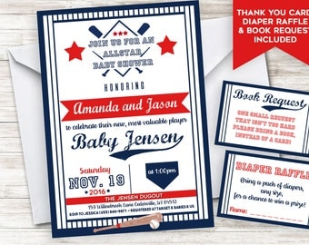 Baseball Baby Shower Invite Invitation 5x7 Allstar Lil Slugger Boy Sprinkle Digital Personalized Bundle