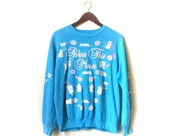 Vintage 1980s Bless this Mouse super soft thin sewing mouse Sweatshirt