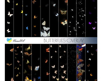 Set of 20 Butterflies Overlays. Moth Clipart Confetti. Butterfly Photo Decoration. Photoshop Party Birthday Wedding Layering Clip art. PNG