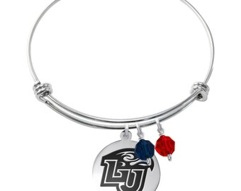 Liberty University Flames Bracelet | Stainless Steel Adjustable Bangle | Two Styles | Officially Licensed