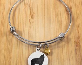 Australian Shepherd Bracelet | Stainless Steel Adjustable Bangle Bracelets  | Dog Jewelry | Australian Shepherd Jewelry